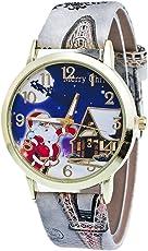 Gloaming Cartoon Weihnachten ältere Muster, Leder Blumenmuster Muster Analog Quarz Vogue Uhren