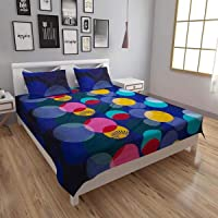 IVAZA Premium 160 TC Latest Beautiful 3D bedsheet Double Bed Cotton with Two Pillow Covers (Blue)