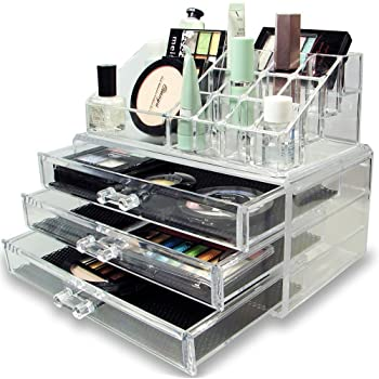 Inditradition Acrylic Cosmetic and Make Up Organizer Cum Storage Box (25.2 cm x 20.2 cm x 15.6 cm, Transparent)
