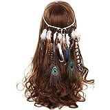 AWAYTR Damen Hippie Boho Indianer Stirnband Feder Stirnbänder für Abendkleider Halloween Karneval