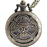 VIGOROSO One Piece Anime Vintage Antique Bronze Steampunk Quartz Pocket Watch Necklace Pendant Gift Box