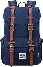 Fafada 23L Laptoprucksack 15 Zoll Rucksack Männer Frauen Rucksack Retro Wasserabweisend Nylon Daypack Canvas Schulrucksack Backpack
