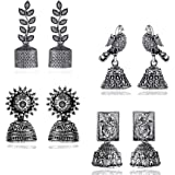 Yellow Chimes Stylish COMBO's Silver Oxidized Designer Traditional Drop Jhumka Earrings for Women and Girls