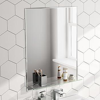 Soak Miroir Salle De Bains De Luxe Etagere Verre 60 X 80 Cm