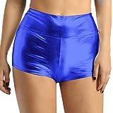 Agoky Women's Shiny Metallic Stretch High Waist Dance Booty Shorts Gym Yoga Hot Pants Swimsuit