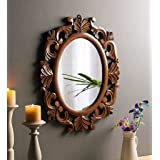 The Urban Store Wood Hand Crafted Oval Shape Vanity Wall Mirror for Living Room, 24X20 Inches (Multicolor)