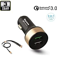 Dyazo Qualcomm Dual Port Turbo Quick Charge 3.0 Dual Port USB Car Charger for Mobile and Tablets with 3 in 1 Cable