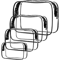 Viaggio Borsa Trasparente Impermeabile 4 Pz Sacchetti per Il Trucco, Pochette Donna Trucchi, Borsa Cosmetici Trasparente…