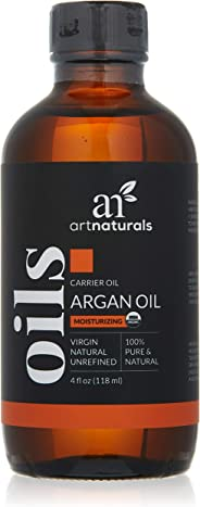 Art Naturals Organic Argan Oil for Hair, Face & Skin 4 oz - 100% Pure Grade A Triple Extra Virgin Cold Pressed From The kernels of the Moroccan Argan Tree - USDA Certified Organic
