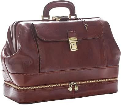D&D - Doctor's Bag Borsa Medico stile classico con vano Portastrumenti - Made in Italy (Marrone)