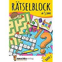 Rätselblock ab 5 Jahre, Band 1, A5-Block: Kunterbunter Rätselspaß: Labyrinthe, Fehler finden, Suchbilder, Sudokus u.v.m…