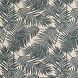 Gardinenstoff Dekostoff Palmen-Blätter beige dunkelpetrol