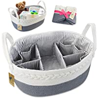 Baby Nappy Caddy Organiser with Changeable Compartments,Large 100% Cotton Rope Woven Multifunctional Nappy Diaper Caddy Storage Nursery Bin Basket, Portable Nappy Bags for Mom