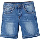 Newness Pantalones Cortos para Niños Short Vaquero Bermudas Vaqueras para Niños 8-14 Años (51211 + 51413)