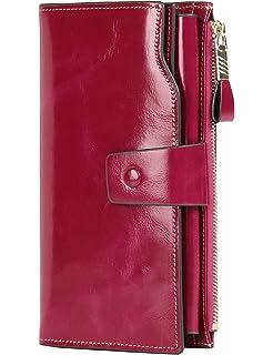 JEEBURYEE Portefeuille Femme Porte Monnaie Porte Cartes de Cr/édit RFID Long Zipp/é Porte Feuille Compagnon en Cuir pour Femme Noir