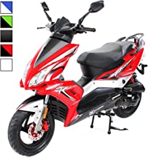 Matador Scooter JJ-50 ccm EURO 4 Roller/Mofa 2,5KW Sport Roller Motorroller 25 km/h 50cc wahlweise Mofa, Roller 25km/h / 45km/h zwei Sitzplätze (Geschwindigkeit: 45km/h - Farbe: Rot/Schwarz)