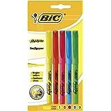 BIC Highlighter Surligneurs Pointe Biseautée - Couleurs Fluo Assorties, Blister de 5