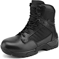 NORTIV 8 Men'sWork Boots Side Zipper Mid Ankle Outdoor Motorcycle Combat Bootie