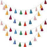 WILLBOND 4 Paquets Guirlande de Gland de Coton Bannière De Gland Coloré Décoration Murale Suspendu pour Décoration de la Mais