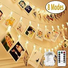 Nasharia LED Foto Clips Lichterketten-8 Modi 20 Clips 2M Fernbedienung Batterie Betrieben Stimmungsbeleuchtung für Schlafzimmer Hängende Bilder Kunstwerke Memos Fenster Zimmer (Warm-weiß)