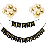 GRAND SHOP 50772 Happy Anniversary Bunting Flag Banner with Pre Filled Golden Confetti Balloons