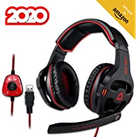 KLIM Mantis Gaming Headset - USB 7.1 Gaming Kopfhörer - Hohe Qualität mit mikrofon - Für PC Mac PS4 Laptop Games - Over Ear Gamer Headphones - Noise Cancelling Microphone [ Neue 2020 Version ]
