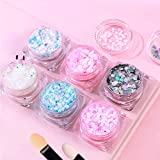 6 kleuren gezicht glitter, cosmetische gel glitter met 6 oogschaduw sponsborstel voor lichaam wangen haar nagels, schoonheid