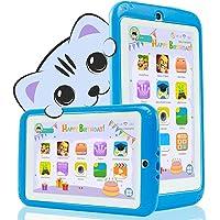 YESTEL Tablet per Bambini 7 Pollici Android 8.1 Kids Tablet e Quad Core 2 GB RAM e 32 GB Rom con Wi-Fi e Bluetooth 1024 * 600 IPS Doppia Fotocamera Educazione Allo Spettacolo Tablet per Bambini-Blu