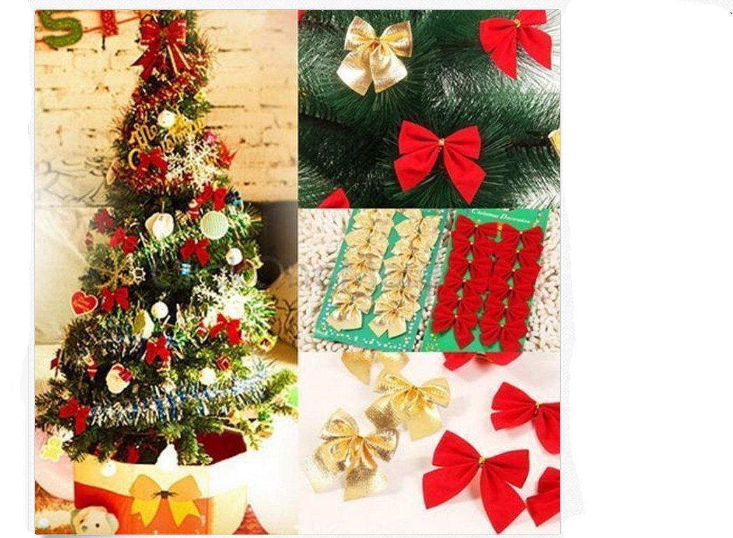 ILOVEDIY 24X Weihnachten Schleifen Weihnachtsbaum Deko Ziehschleifen:  Amazon.de: Küche U0026 Haushalt