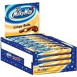 Milky Way Waffelröllchen | Crispy Rolls, Milchcreme | 24 Crispy Rolls in einer Box (24 x 25 g)