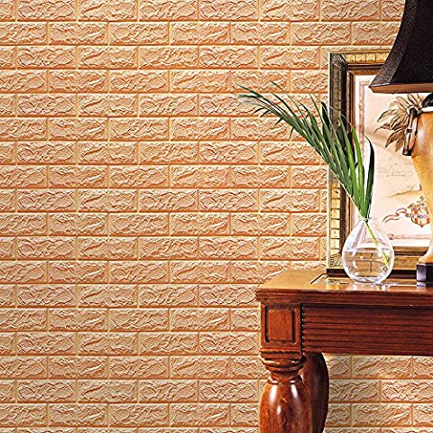 Indexp 3D DIY PE Foam Tile Brick Stone Wallpaper Embossed Noise Reduction Wall Decoration (23.6x23.6in,