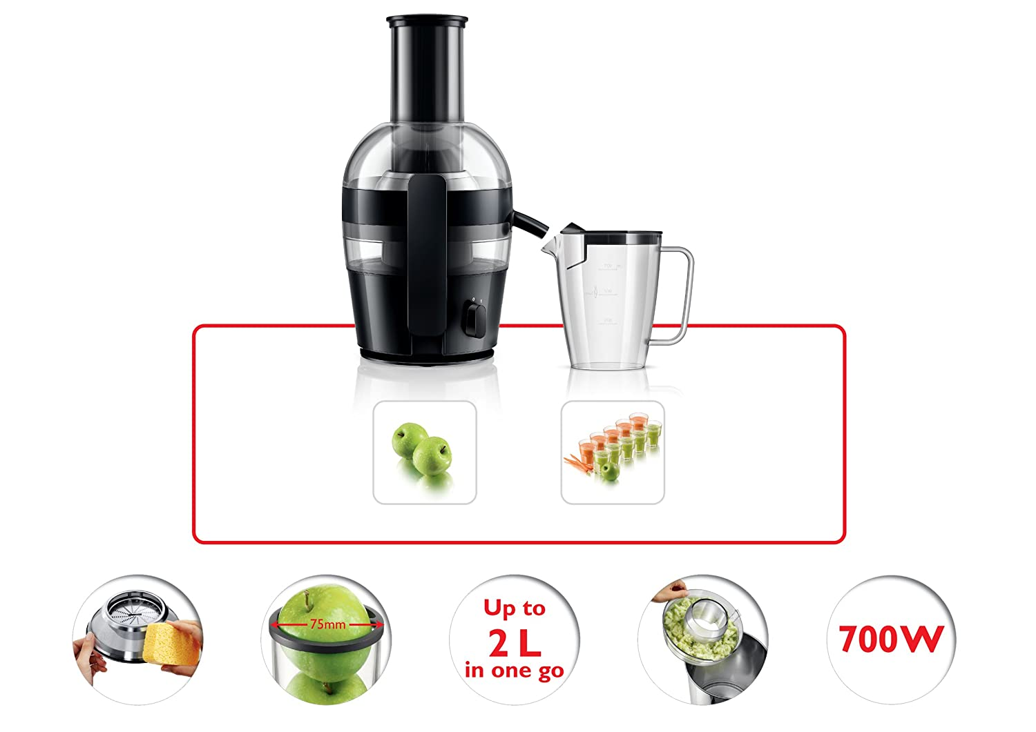Philips Slow Juicer Hr1855 : Philips HR1855/01 viva Collection Juicer, 2 Litre, 700 Watt eBay