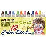 Eulenspiegel 626122 – färgpinnar, 12 stycken, fettbaserade sminkpennor