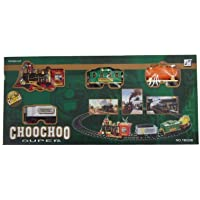 JIPPCO oy Train Emits Real Smoke Light Sound Track Set Battery Operated Super Classical ChooChoo Toy Train - Multi Color