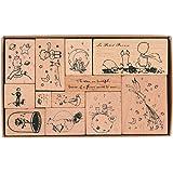Sello de Madera Vintage, NogaMoga 12pcs Sellos de Goma de Madera, Sellos del Principito, Sello Decorativo Para Scrapbooking,