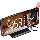 "Aikove Despertador Proyector, con Función de Radio FM, Pantalla de Espejo LED de 7"", Brillo de 4 Niveles, Carga USB, Proyecci"