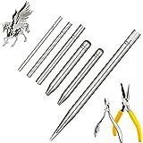 8 Pieces Metal Model DIY Tool Sets 6 Pieces Metal Cone Shape Bending Assist Tools and 2 Pieces Diagonal Plier Nose Plier Tool