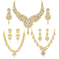 Sukkhi Dazzling Gold Plated Wedding Jewellery Austrian Diamond Choker Necklace Set Combo For Women (413CB1900)