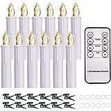 cimetech Lot de 12 bougies flottantes à piles étanches sans flamme avec télécommande et variateur d'intensité Blanc chaud