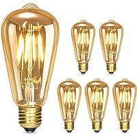 Albrillo LED Lampadina Vintage Edison Dimmerabile - 4W E27 Lampadine di Filamento, Luce Bianca Calda 2500K, Stile Edison…