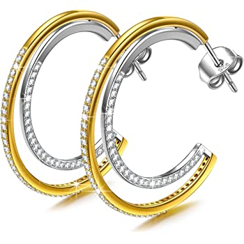 9c88078a572ef ANGEL NINA Hoop Earrings for Women, 925 Sterling Silver, The Devil Wears  Prada, Gold Plated, Elegant Jewellery Gift Box, Nickel Free Passed SGS Test