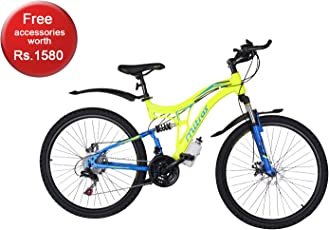 Mitras Maverick 26 Inches 21 Speed Shimano Gears Dual Suspension Mountain Bicycle For Kids (11-18 Years)- Green
