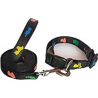 RvPaws Nylon Leash and Collar Bone Paw Print Set Suitable for Puppies & Medium Dog (Black, 0.5 INCH)