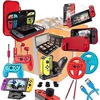 Orzly Kit Accessori per Nintendo Switch Geek Pack con: Switch Custodia e Pellicola Protettiva, Joy-con impugnature…