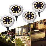 Solar Lights for Outdoor Garden, 8 LEDs 4 Pack Solar Ground Lights Outdoor Solar Garden Lights IP65 Waterproof Decking Lights