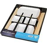 GRÄWE Sushi-Set für 2 Personen, 10-teilig - Bambus-Rollmatten, Asia-Geschirr und Essstäbchen