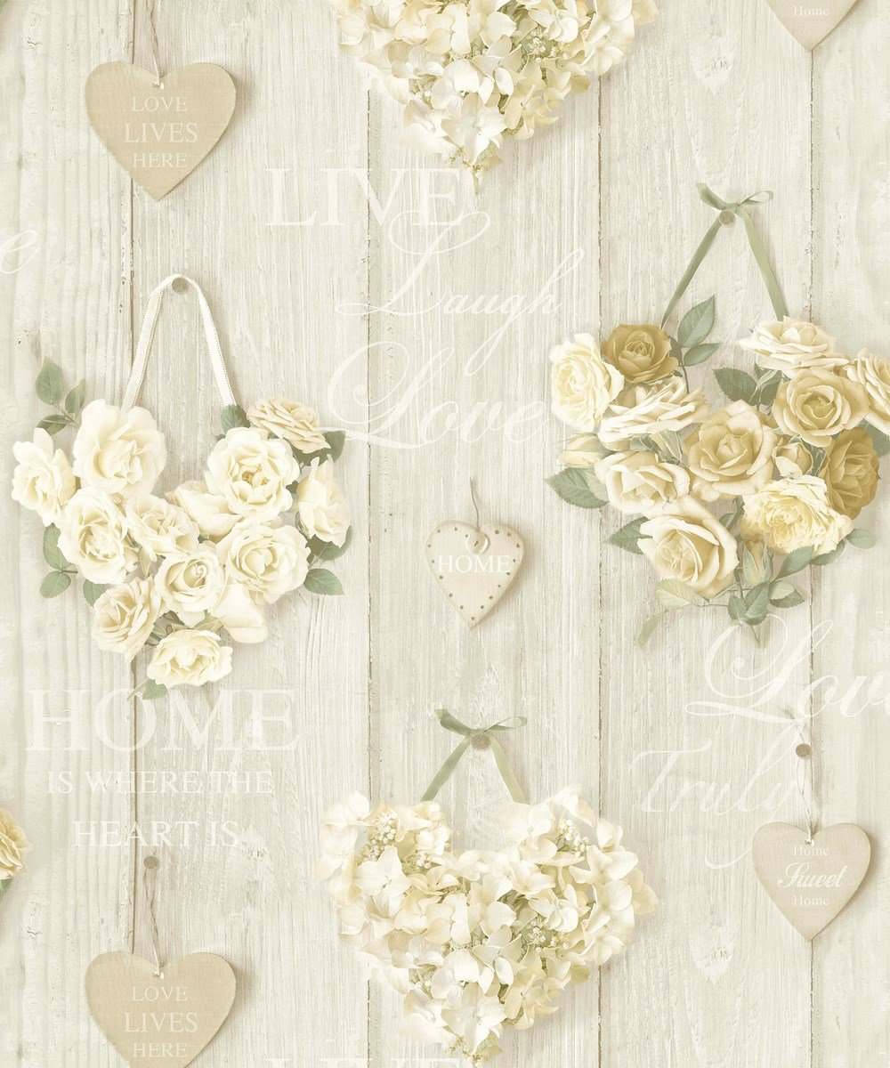Grandeco A14502 Pattern Line Vintage Hearts Paper Wallpaper Multi