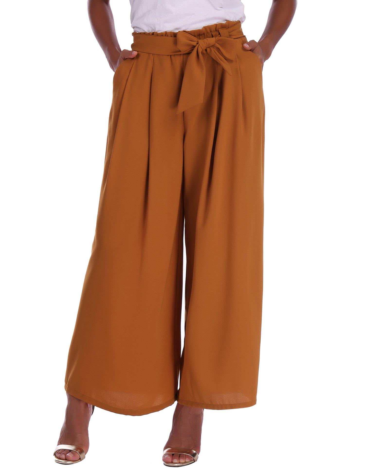 Abollria Donna Pantaloni Larghi Estivi Di Vita Alta Con Cintura