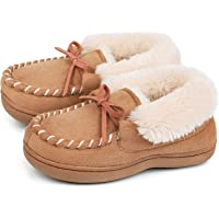 MERRIMAC Boys and Girls Dinghy Memory Foam Moccasin Slippers with Fuzzy and Warm Sherpa Lining