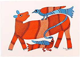 Tribes India Paper Painting (38 cm x 27 cm x 2 cm, Brown)